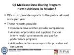 qe medicare data sharing program how it achieves its mission