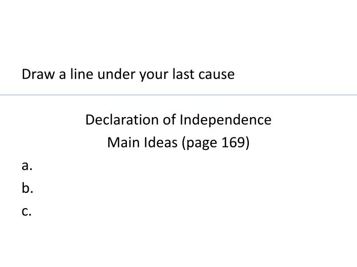Draw a line under your last cause