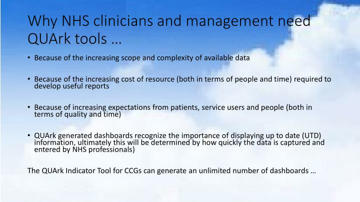 Why nhs clinicians and management need quark tools