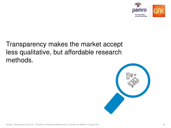 Transparency makes the market accept less qualitative, but affordable research methods.