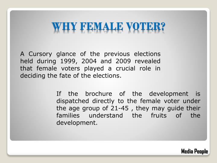 A Cursory glance of the previous elections held during 1999, 2004 and 2009 revealed that female voters played a crucial role in deciding the fate of the elections.