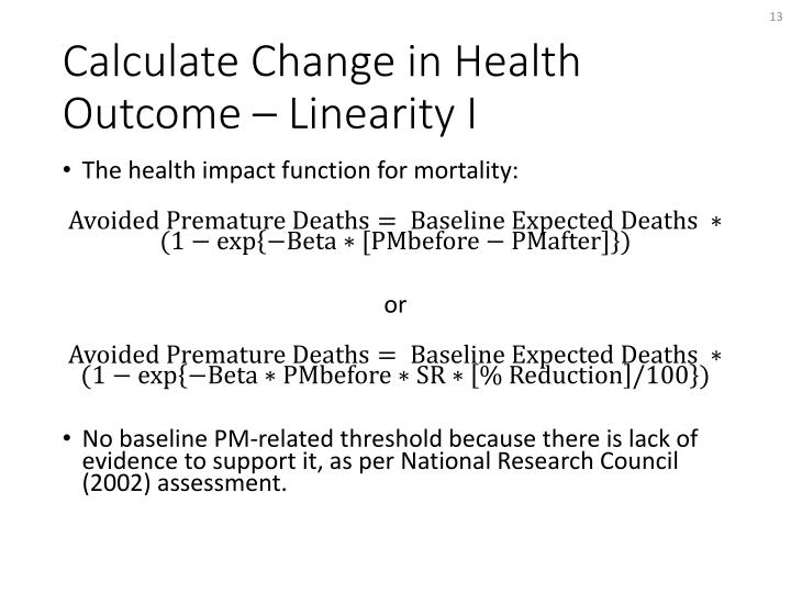 The health impact function for mortality: