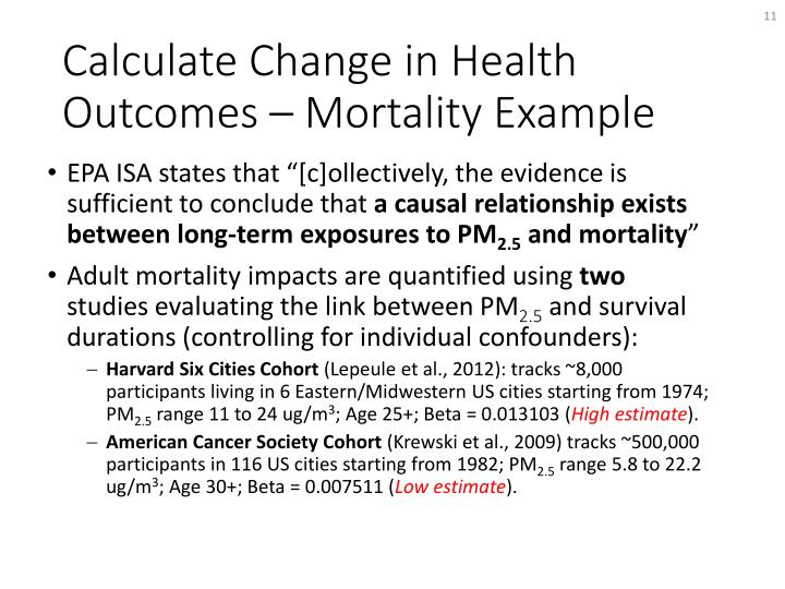 Calculate Change in Health Outcomes – Mortality Example