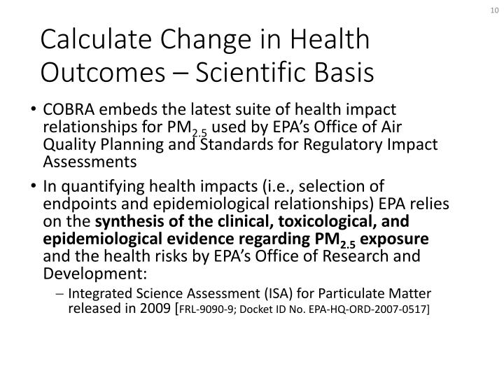 Calculate Change in Health Outcomes – Scientific Basis