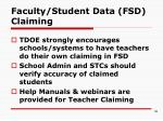 faculty student data fsd claiming