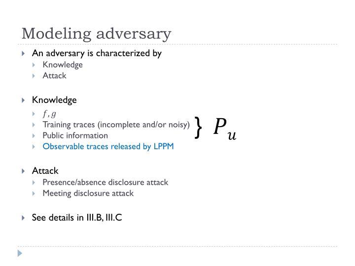 Modeling adversary