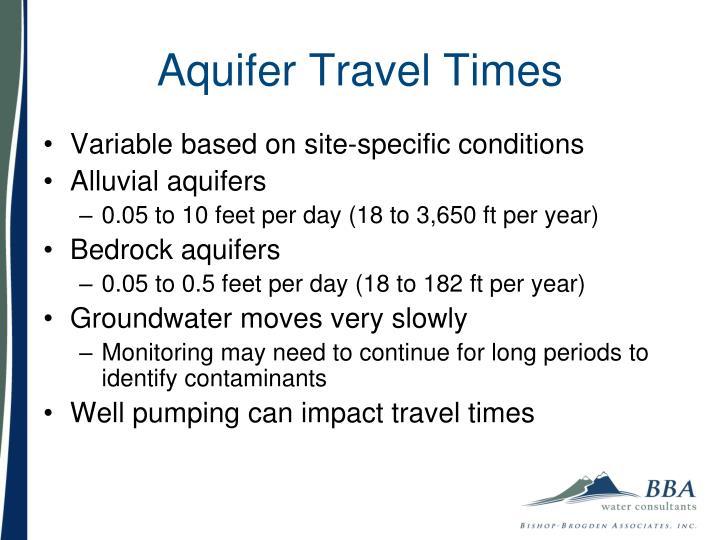 Aquifer Travel Times