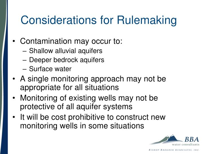 Considerations for Rulemaking