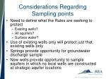 considerations regarding sampling points