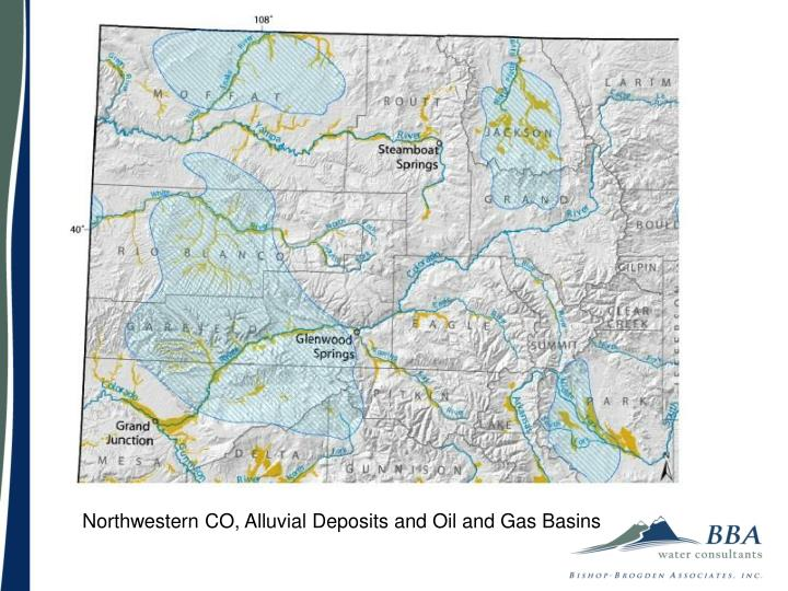 Northwestern CO, Alluvial Deposits and Oil and Gas Basins