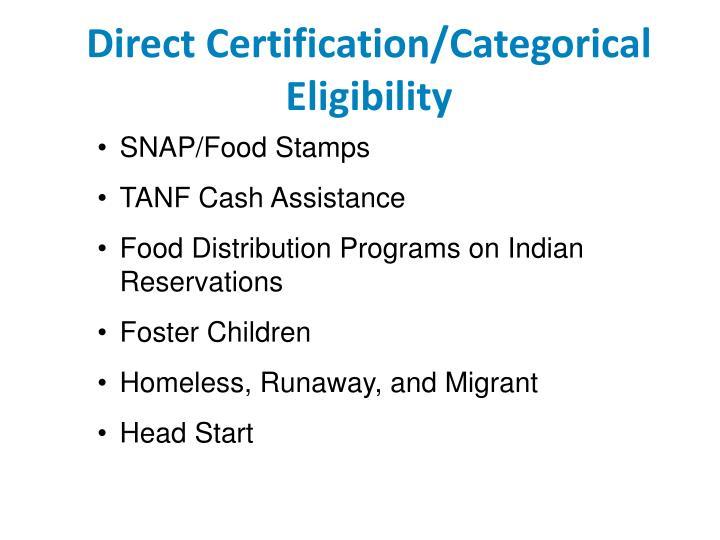 Direct Certification/Categorical Eligibility