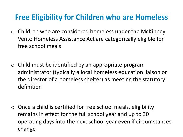 Free Eligibility for Children who are Homeless
