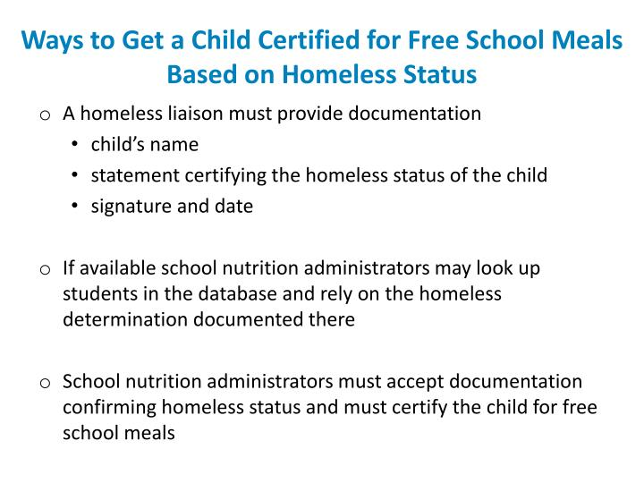 Ways to Get a Child Certified for Free School Meals Based on Homeless Status
