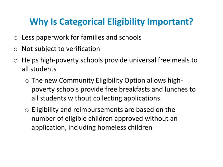 Why Is Categorical Eligibility Important?