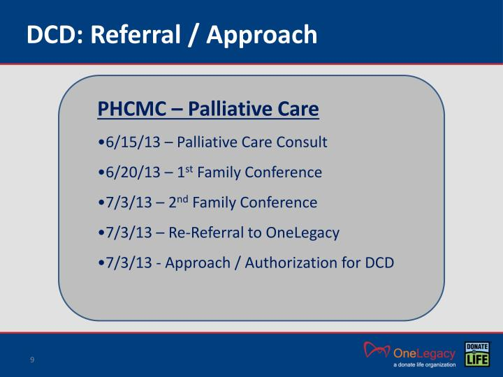DCD: Referral / Approach
