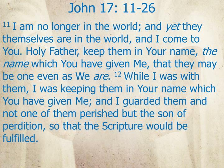 John 17: 11-26