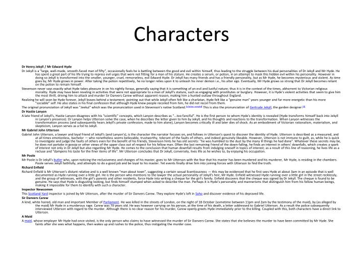character analysis utterson This guide contains everything you need to know about the classic novel 'jekyll and hyde' detailed chapter summaries, analysis of language, structure, form, context, characters and more.