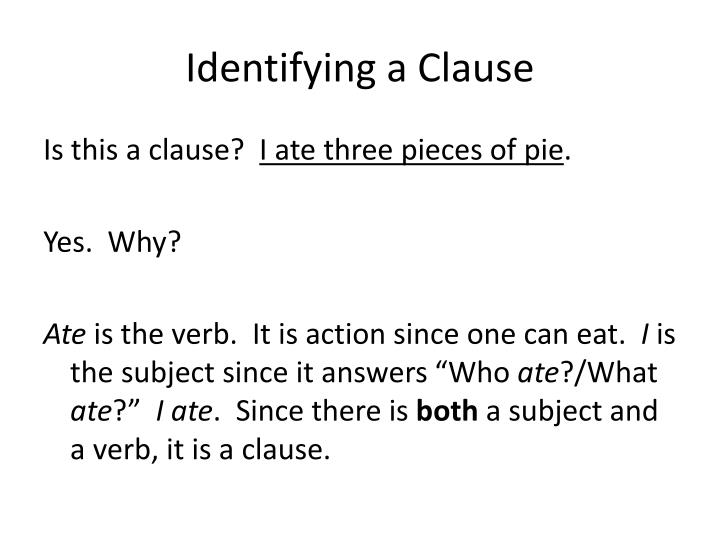 Identifying a clause