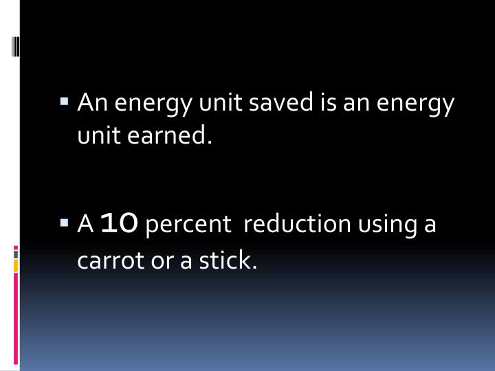 An energy unit saved is an energy unit earned.