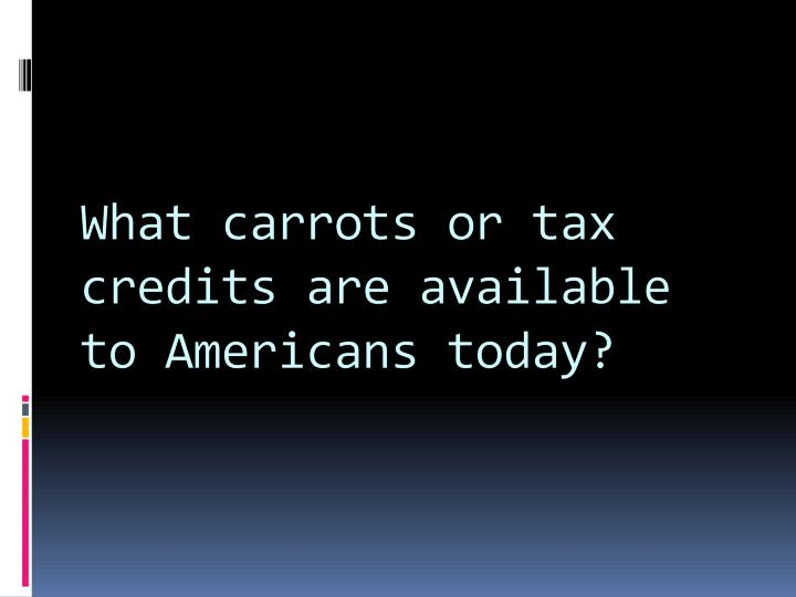 What carrots or tax credits are available to Americans today?