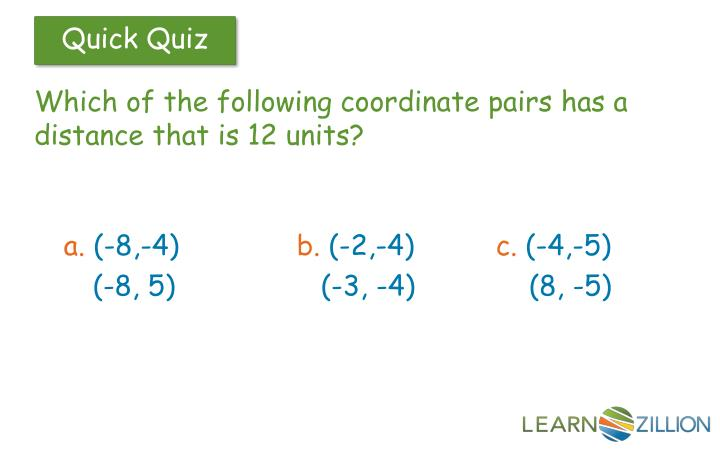 Which of the following coordinate pairs has a distance that is 12 units?