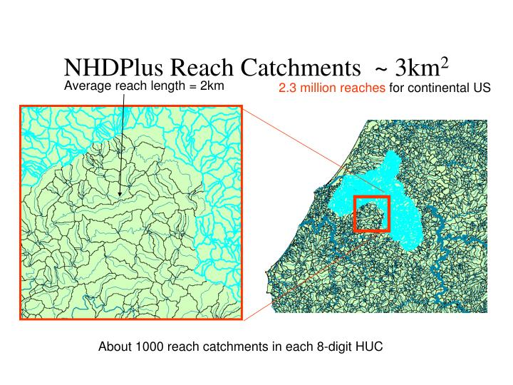 NHDPlus Reach Catchments  ~ 3km
