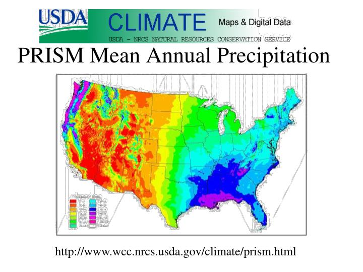 PRISM Mean Annual Precipitation