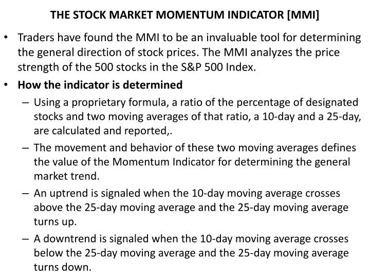 THE STOCK MARKET MOMENTUM INDICATOR [MMI]