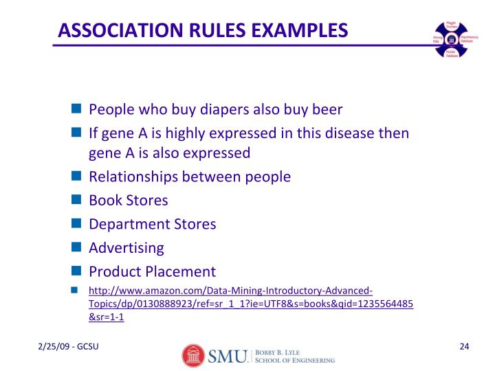 ASSOCIATION RULES EXAMPLES