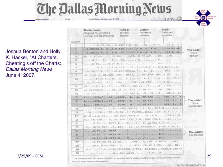 "Joshua Benton and Holly K. Hacker, ""At Charters, Cheating's off the Charts:,"