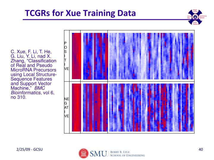TCGRs for Xue Training Data