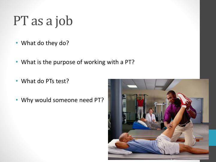 PT as a job