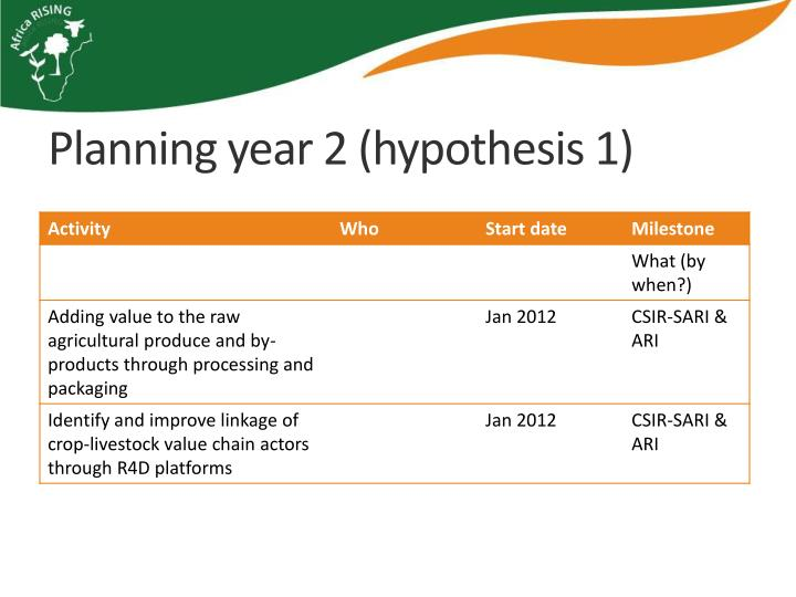 Planning year 2 (hypothesis 1)