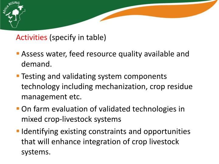 Assess water, feed resource quality available and demand.