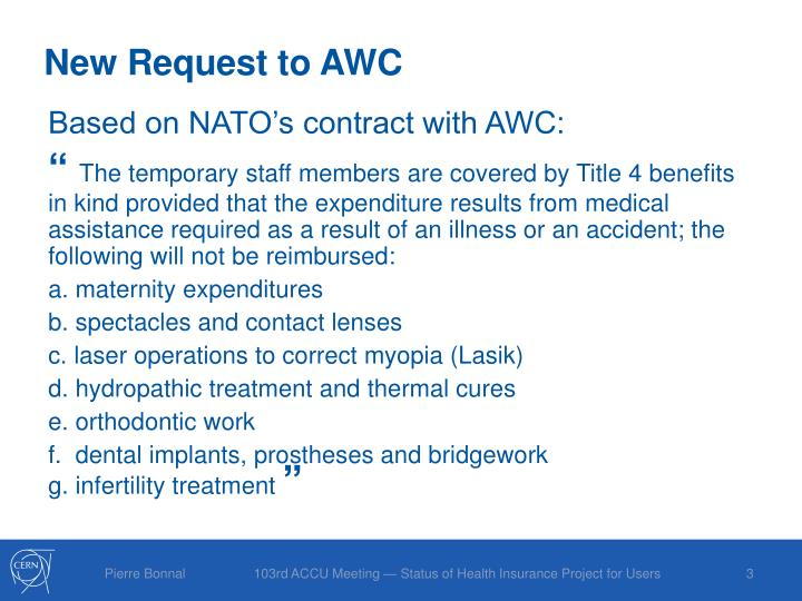 New Request to AWC