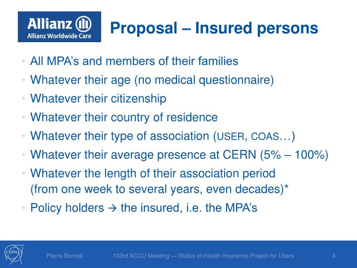 Proposal – Insured persons