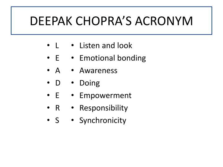 DEEPAK CHOPRA'S ACRONYM