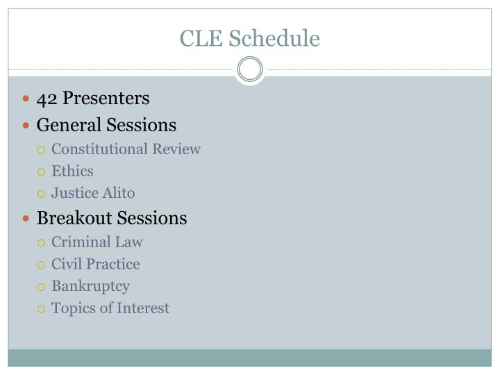 Cle schedule