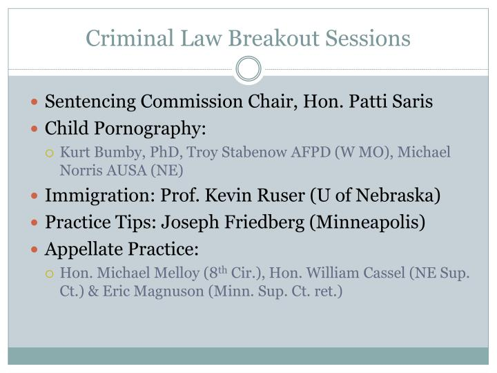 Criminal Law Breakout Sessions