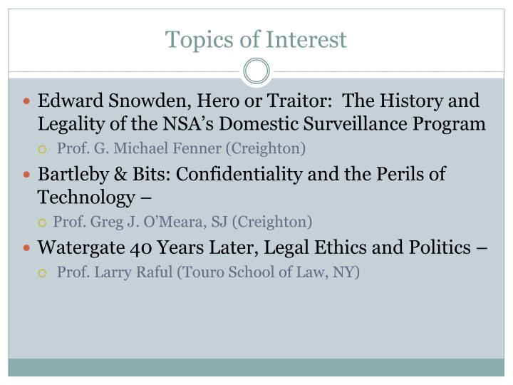 Topics of Interest