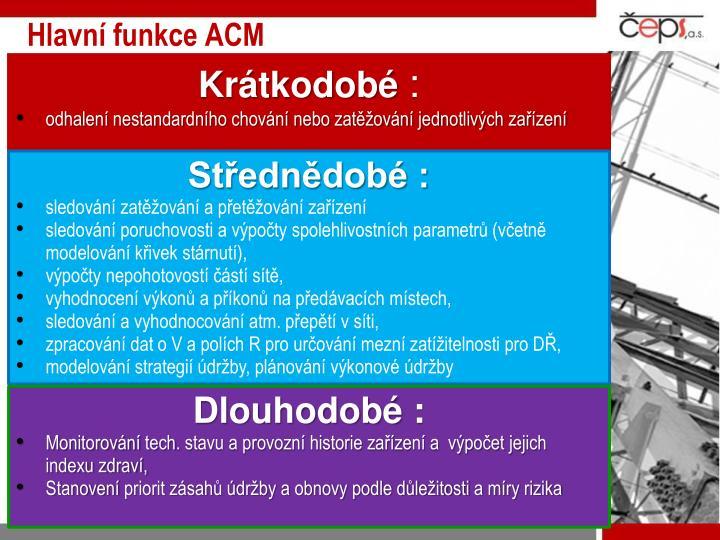 Hlavní funkce ACM