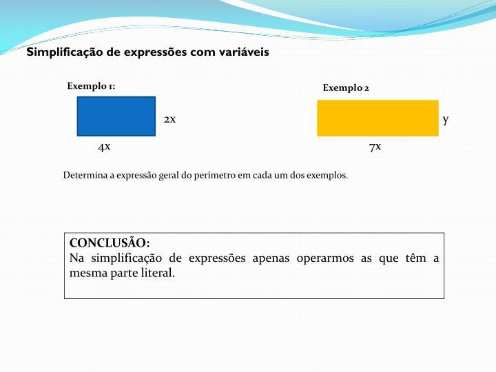 Simplificação de expressões com variáveis