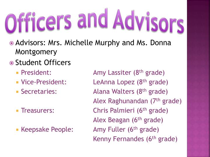 Officers and advisors