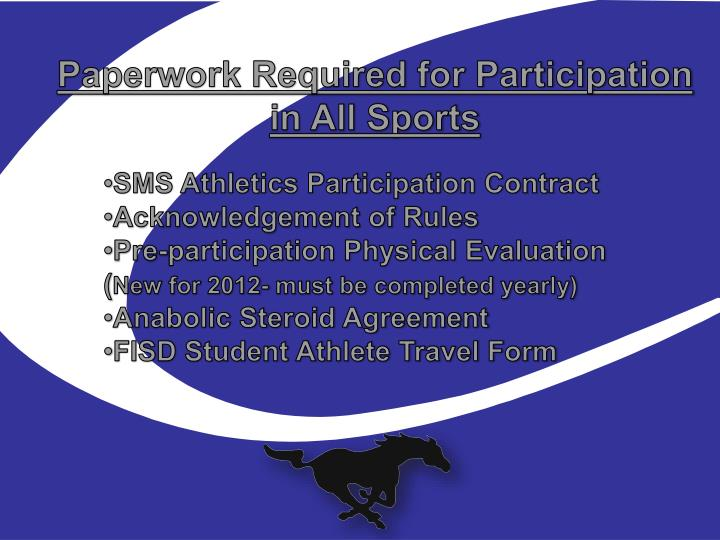Paperwork Required for Participation in All Sports