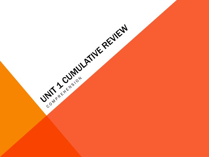 Unit 1 Cumulative Review