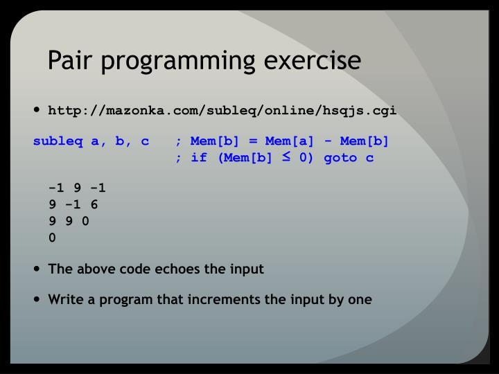 Pair programming exercise