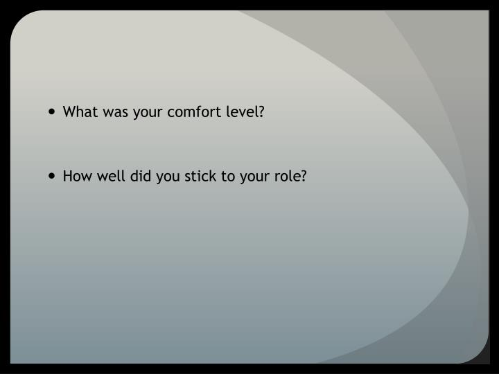 What was your comfort level?