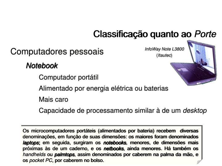 Os microcomputadores portáteis (alimentados por bateria) recebem  diversas denominações, em função de suas dimensões: os maiores foram denominados