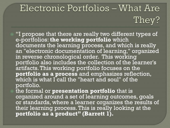 Electronic Portfolios – What Are They?