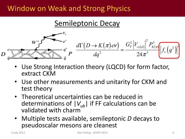 Window on weak and strong physics1